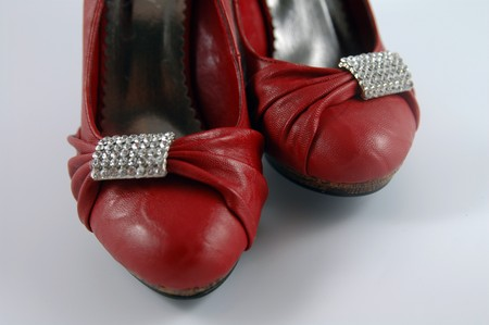 red shoes with a application of rhinestones