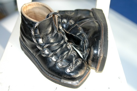 Pair of old leather childrens shoes with shoelaces