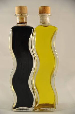 balsamico and loive oil in bottles photo