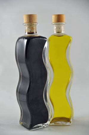 balsamico and olive oil in bottles