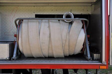fire hose in a german fire truck