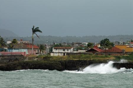 Coastline and cityscape of Baracoa on Cuba photo