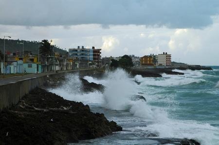 Coastline and cityscape of Baracoa on Cuba