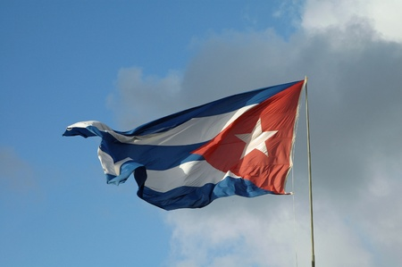 banner of cuba moving in the wind Stock Photo
