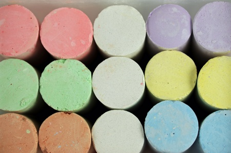 colorful chalk crayons in a box