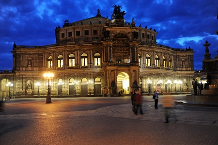 Semperoper, Dresden, Saxony, Germany, 06-02-2012, Dresden, a historical operahouse by night