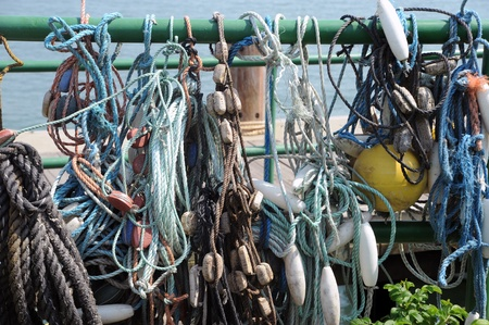 ropes hanging in a harbor Stock Photo - 16916597