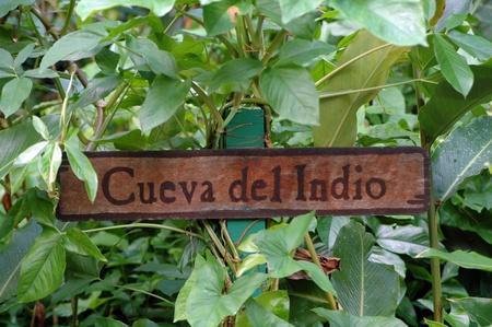 Signboard at the entrance of the grotto Cueva de Indio in Valle Vinales
