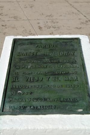 hemingway: Memorial tablet, Parque Ernesto Hemingway in Cojimar