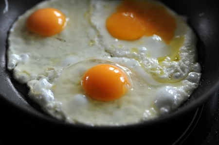 Fried eggs in a pan Stock Photo
