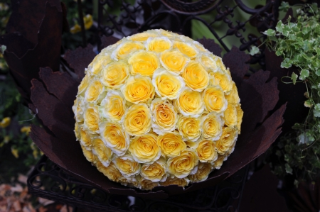 wreath of yellow roses in a metal bowl on a chair Stock Photo