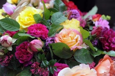 colorful bouquet with roses Stock Photo