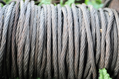 steel rope wrapped on a cable roller