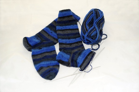 handmade socks of multicolored pure new wool Stock Photo