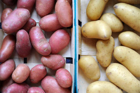 Yellow and red potatoes in a basket Stock Photo
