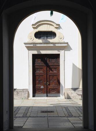 wooden door, entrance of a church