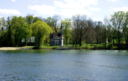Herreninsel, Lake Chiemsee, Bavaria with chapel Seekapelle zum heiligen Kreuz