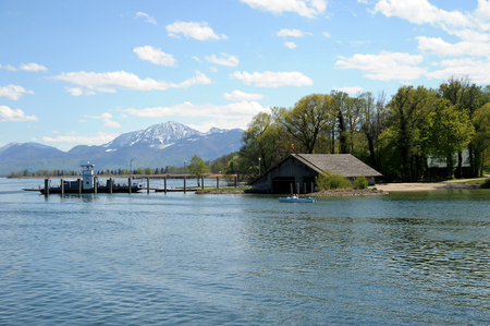 Herreninsel, Lake Chiemsee, Bavaria with  boathouse and ferry