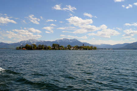Fraueninsel with monastery Frauenchiemsee in the Lake Chiemsee, Bavaria