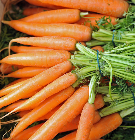 bunches o carrots at the market Stock Photo