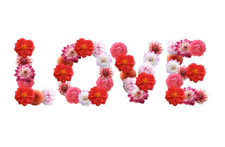 Love - Flowers text on white background