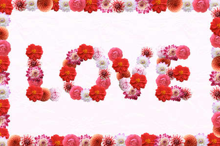 Love - Flowers text on white background. Valentine's Day greeting card Stock Photo