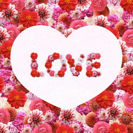 Love - Flowers text. Valentine's Day greeting card Stock Photo