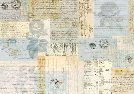 Collage of faded vintage papers, texts and botanical flowers