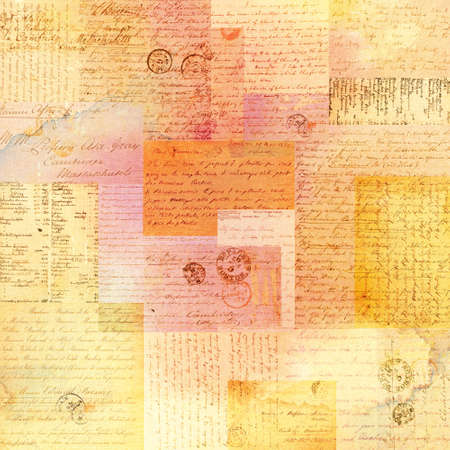 Colorful collage of faded vintage papers and texts