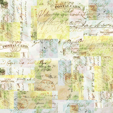 Collage of faded vintage papers and texts Stock Photo