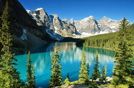 banff national park: Lake Moraine, Banff national park Stock Photo