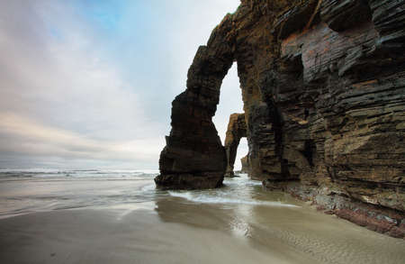 Beach of the Cathedrals in Ribadeo, Spain Standard-Bild