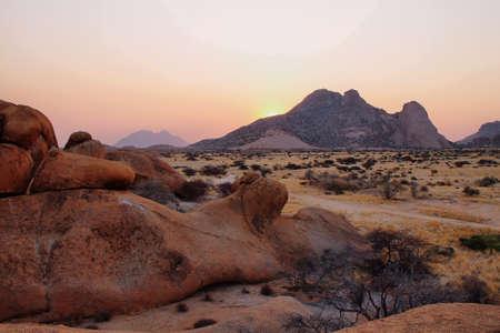 spitzkoppe: Colorful rocky landscape in Spitzkoppe Namibia Stock Photo