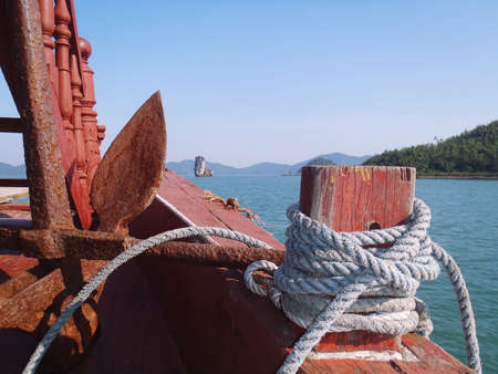 floatable: Inside a boat sailing in Bai tu long, Vietnam Stock Photo