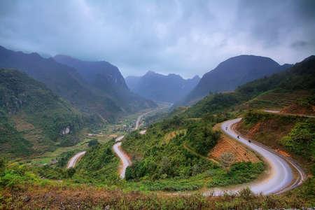 ha giang: Winding  mountain road in Ha Giang province  Vietnam
