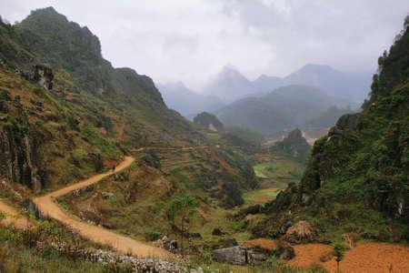 ha giang: Mountains and paddies near Dong Van in Ha Giang, Vietnam  Stock Photo