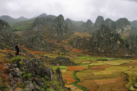 dong: Mountains and paddies near Dong Van in Ha Giang, Vietnam  Editorial