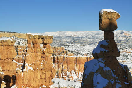 bryce canyon: Bryce canyon panorama with snow in Winter