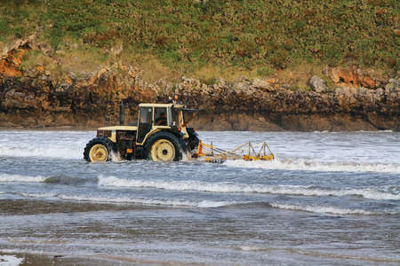 drench: BARRO DE LLANES, SPAIN - NOV 3  Tractor collecting  ocle  on November 3, 2013 in beach of Barro de Llanes, Asturias , Spain  Asturias is the only region in Spain where was regulated in 2010 the collection of  ocle , a variety of seaweed that is used for f