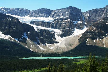 Hector Lake and Crowfoot glacier, banff national park