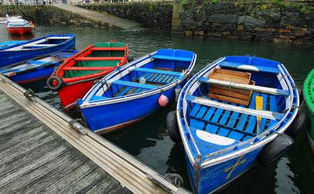 Colorist boats in port of Luarca, Asturias Spain 免版税图像