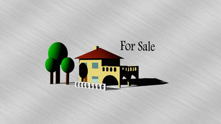 home for sale: Isolato Casa per l'illustrazione vendita 3D Archivio Fotografico