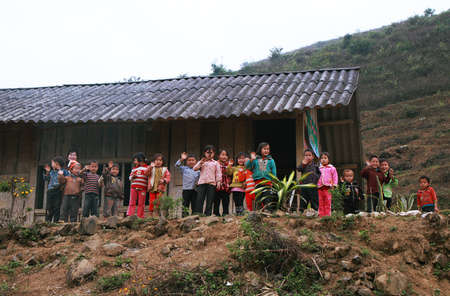 HAGIANG, VIETNAM - DECEMBER 6  Unidentified children in a school on December 6, 2011 in Ha giang province  Schools, health and other services are underdeveloped compared to many other parts of Vietnam