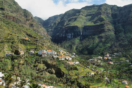 location shot: The Valle Gran Rey on the island La Gomera, Canary island, Spain