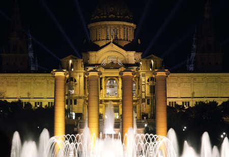 Mnac palace lighting for new year's 2014 spectacle in Barcelona