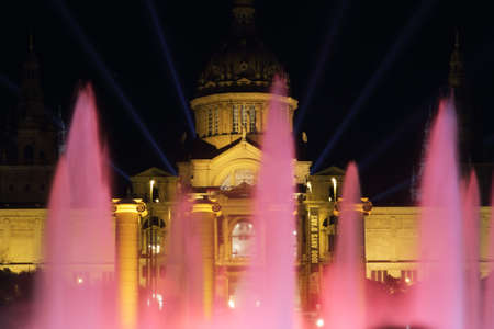 Mnac palace lighting for new year s 2014 spectacle in Barcelona
