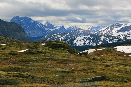 Mountain range views from Wilcox pass trail, Canada photo