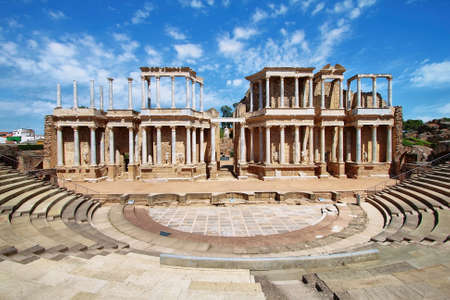 El Teatro Romano Teatro Romano, Mérida, Extremadura España Foto de archivo - 25091530