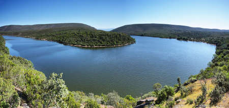 Meander of Tajo river from La Higuerilla viewpoint in Monfrage National Park, Caceres  Spain