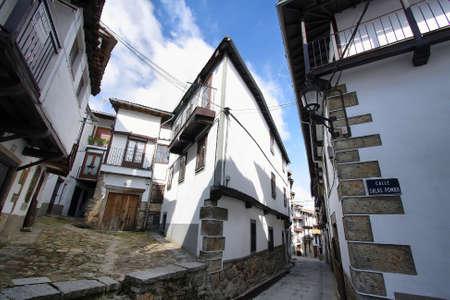 castille: Beautiful facades in historic village of Candelario, Castille and Leon, Spain Stock Photo